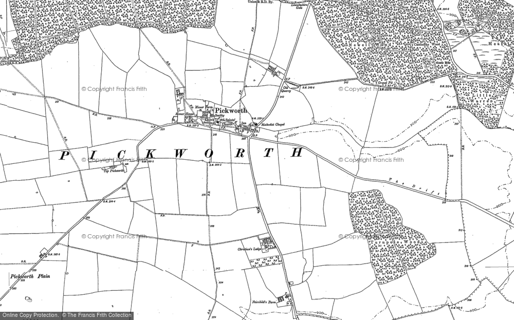 Old Map of Historic Map covering Lincolnshire Gate in 1886