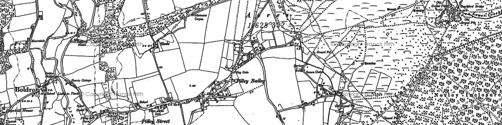 Old map of Pilley in 1895