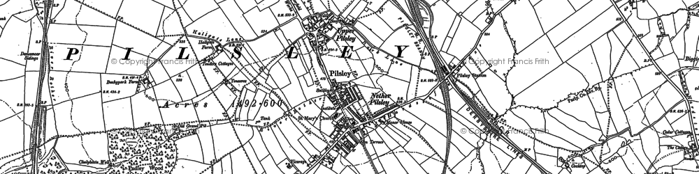 Old map of Pilsley in 1877