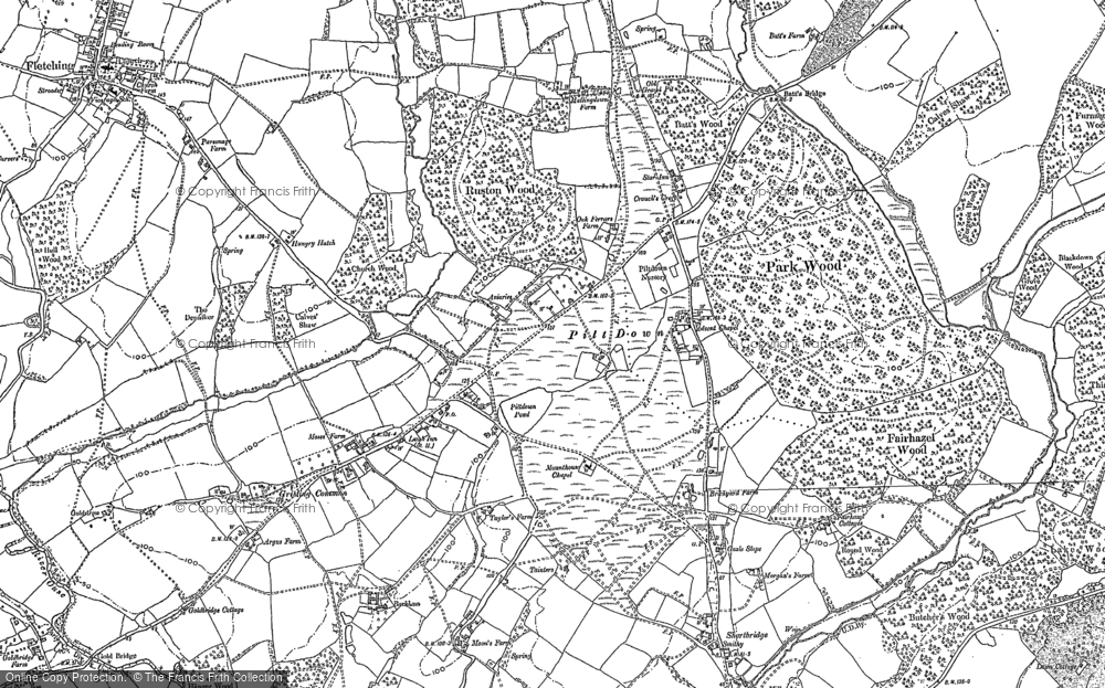 Old Map of Historic Map covering Barkham Manor Vineyard in 1898
