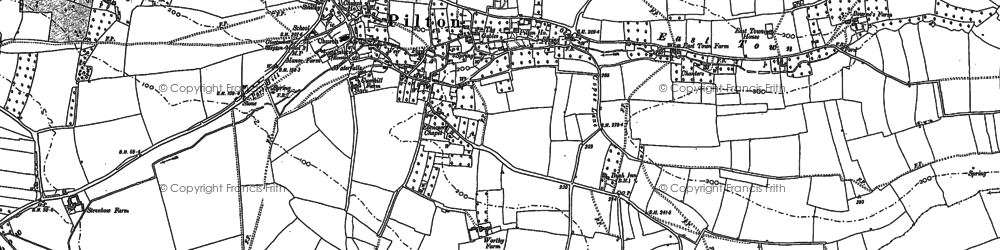 Old map of Pilton in 1885