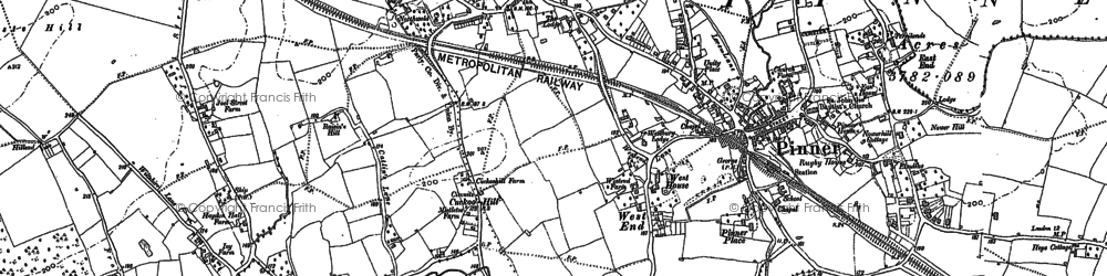 Old map of Pinner in 1894