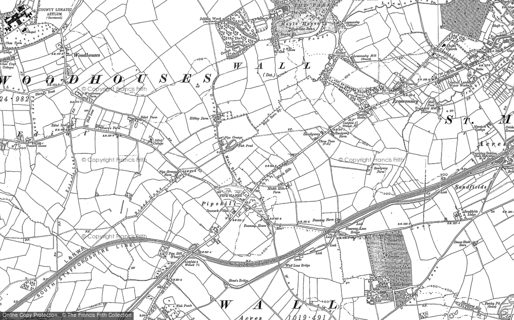 Old Map of Historic Map covering Aldershawe in 1882