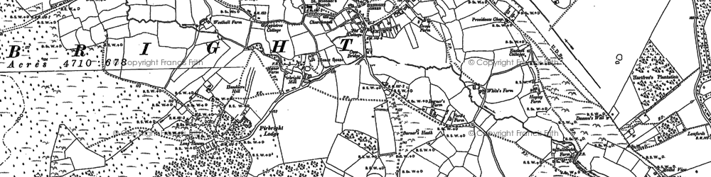Old map of Pirbright in 1895
