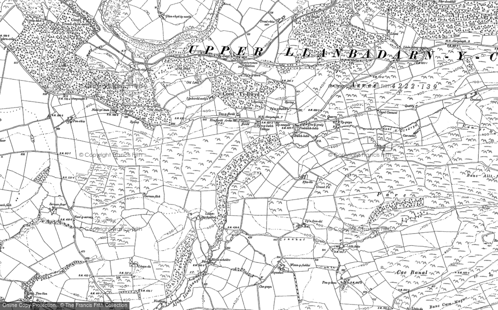 Old Map of Historic Map covering Allt-fedw in 1886