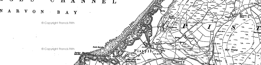 Old map of Pistyll in 1899