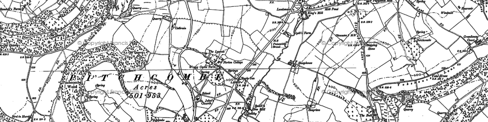 Old map of Pitchcombe in 1882