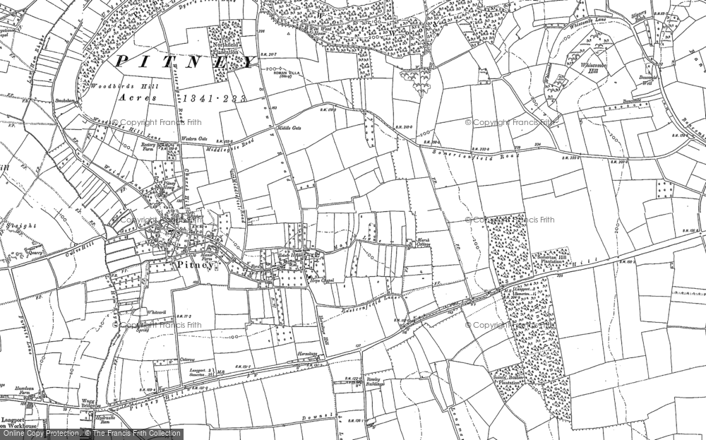 Old Map of Historic Map covering Woodbirds Hill in 1885