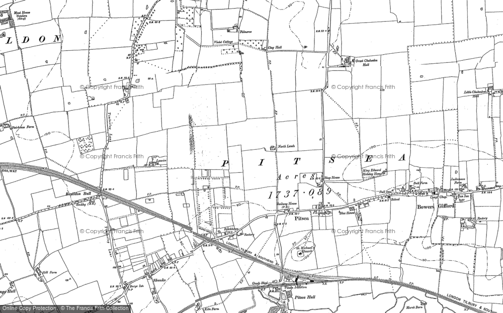 Old Map of Pitsea, 1895 in 1895