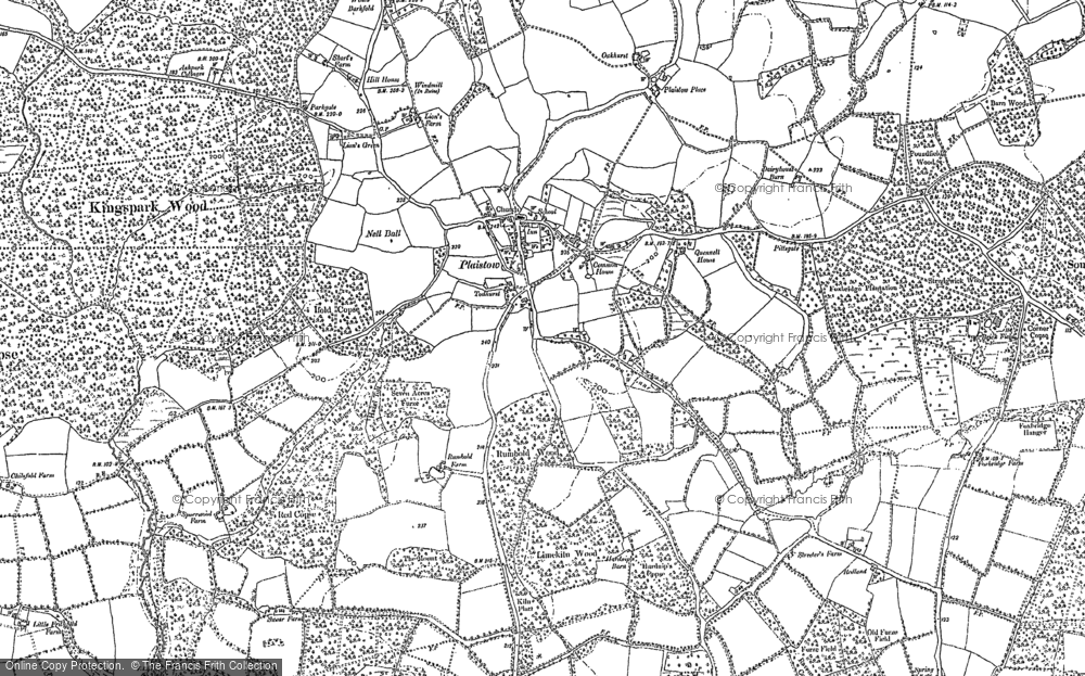 Old Map of Historic Map covering Lanelands in 1910
