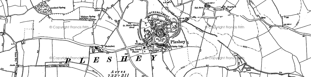 Old map of Acreland Green in 1895