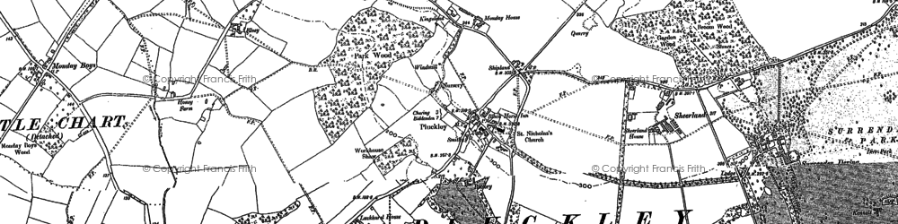 Old map of Pluckley in 1896