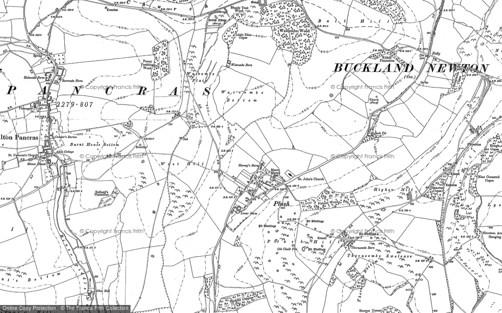 Old Map of Historic Map covering Ball Hill in 1887