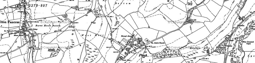 Old map of Ball Hill in 1887