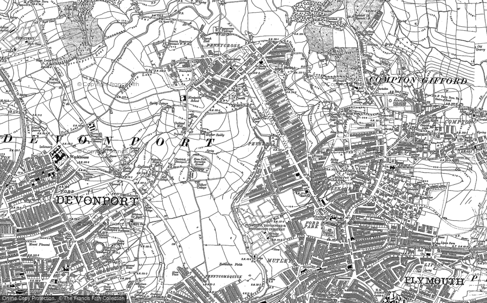 Old Map of Plymouth, 1905 - 1912 in 1905