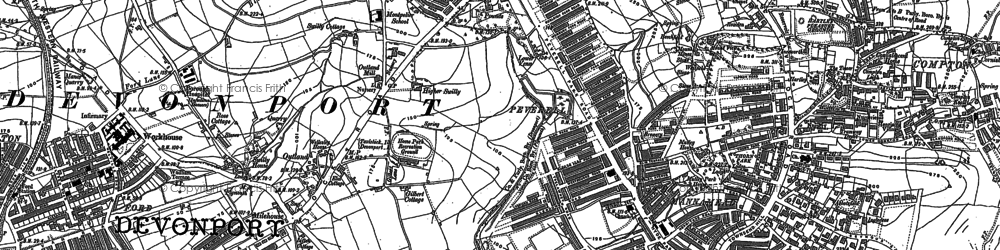 Old map of Plymouth in 1905