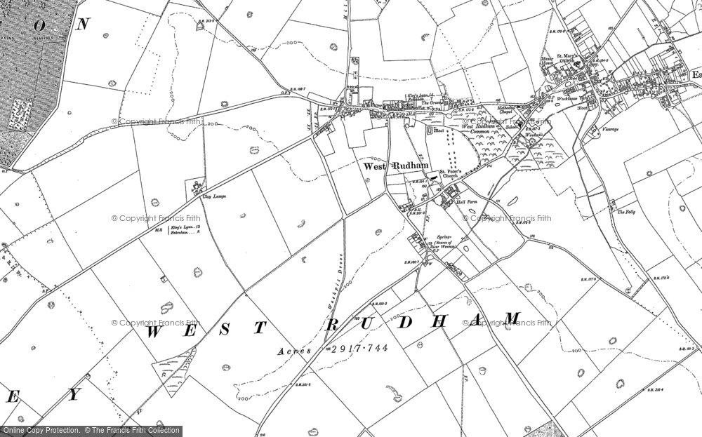 Old Map of Pockthorpe, 1885 in 1885