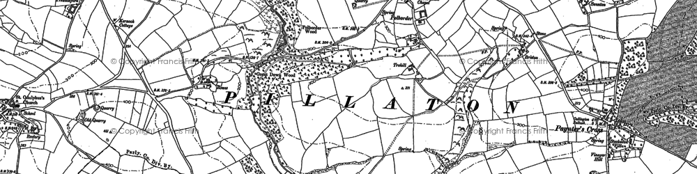 Old map of Paynter's Cross in 1882