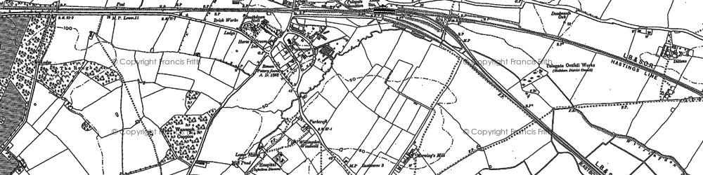 Old map of Polegate in 1898