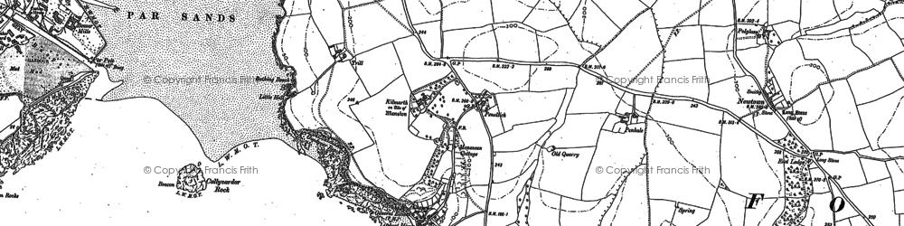 Old map of Polkerris in 1906