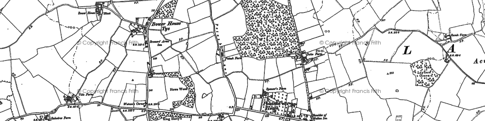 Old map of Whinnyfield Wood in 1884