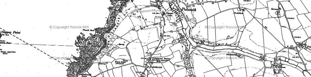 Old map of Polzeath in 1880