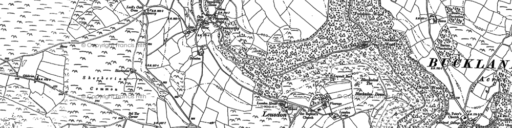 Old map of Leusdon in 1884