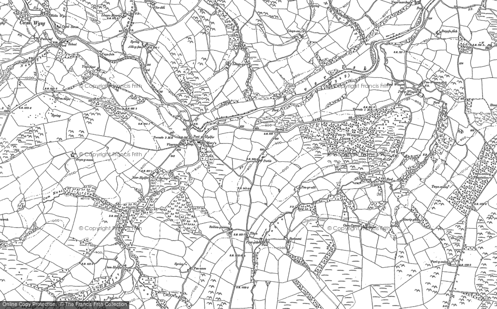 Old Map of Historic Map covering Aberhydfer in 1884