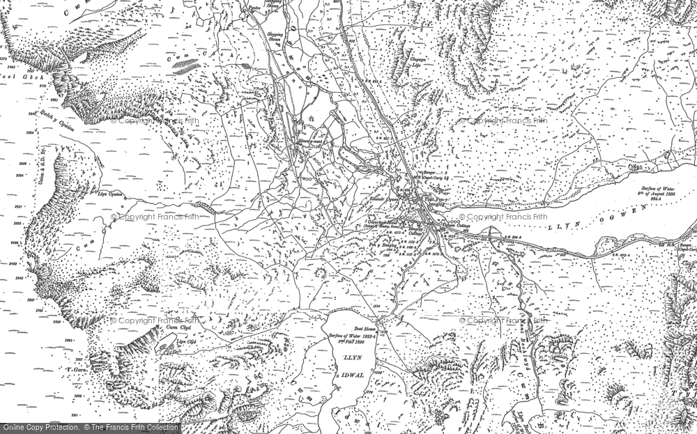 Old Map of Historic Map covering Afon Lloer in 1888