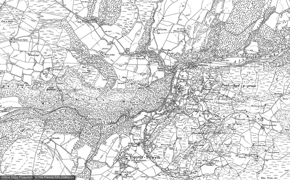 Old Map of Historic Map covering Allt Dihanog in 1886