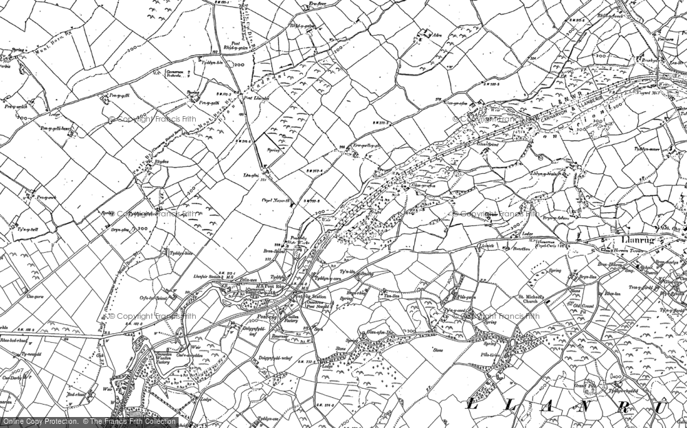 Old Map of Historic Map covering Afon Seiont in 1888