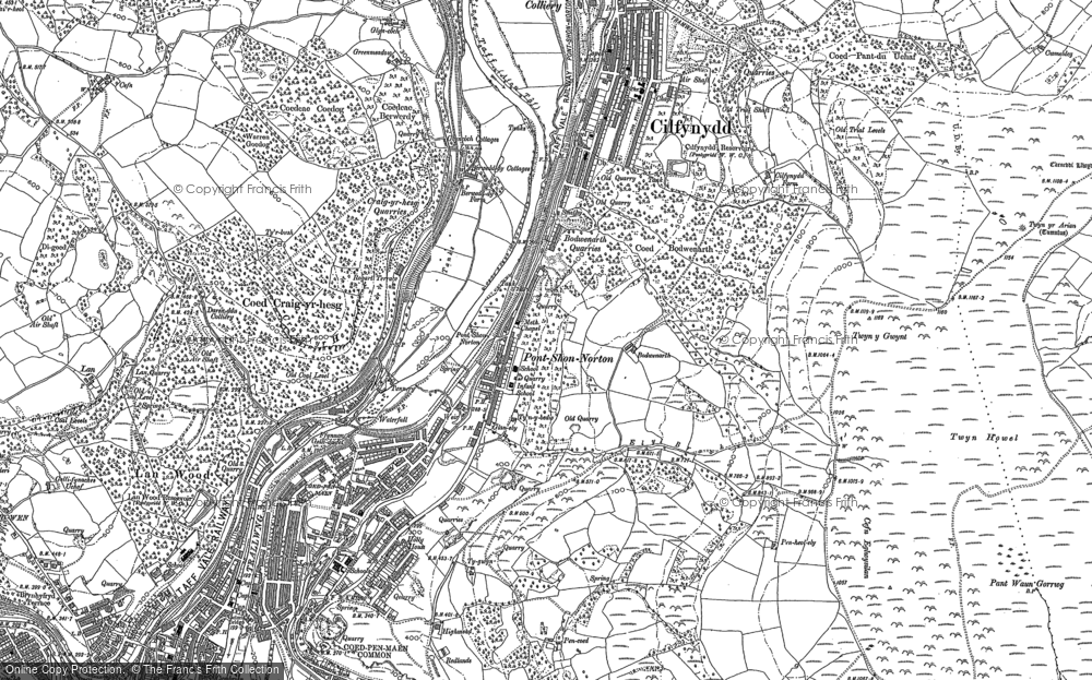 Old Map of Historic Map covering Y Carreg Siglo in 1898