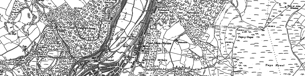 Old map of Y Carreg Siglo in 1898