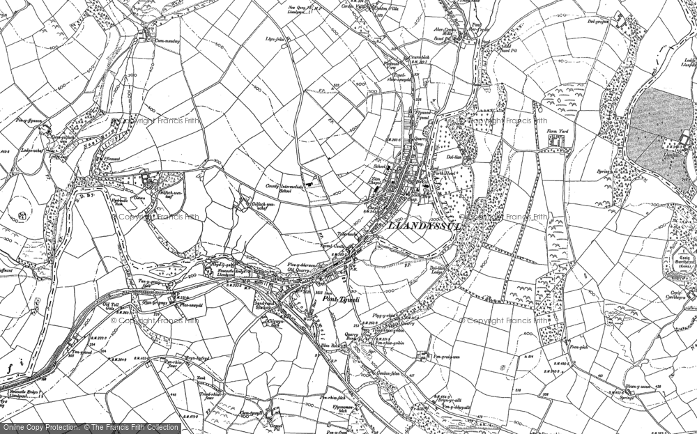 Old Map of Historic Map covering Afon Tyweli in 1887