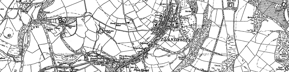 Old map of Afon Tyweli in 1887