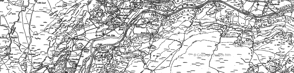 Old map of Lledr Valley in 1888