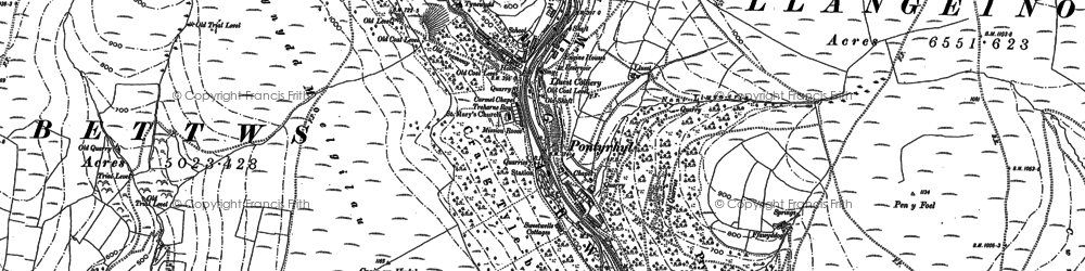 Old map of Afon Garw in 1897