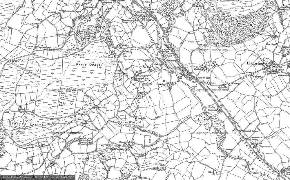Old Map of Historic Map covering Afon Carno in 1885