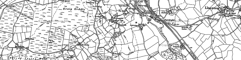 Old map of Alltwnnog in 1885