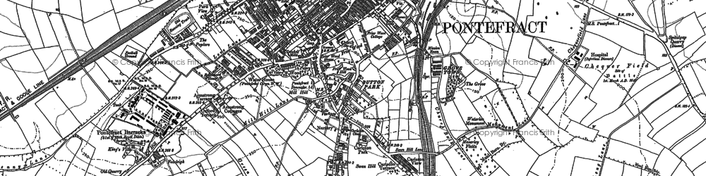 Old map of Pontefract in 1890