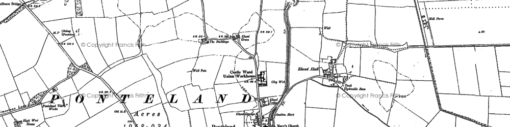 Old map of Ponteland in 1895