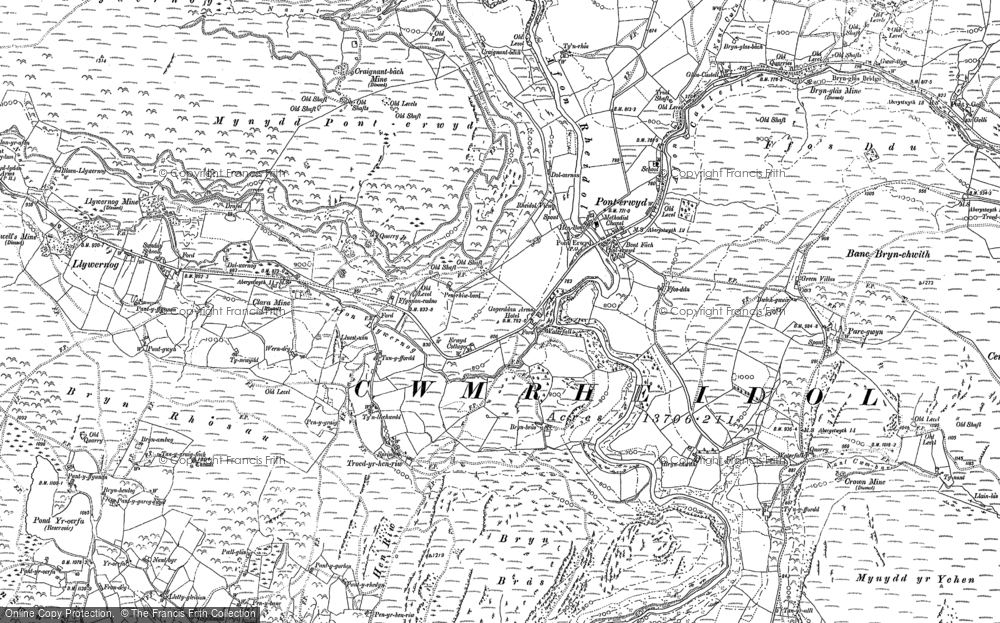 Old Map of Historic Map covering Banc Creignant Mawr in 1886