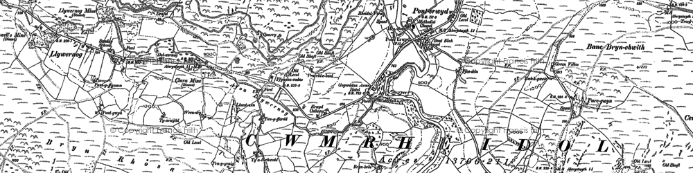 Old map of Ponterwyd in 1886