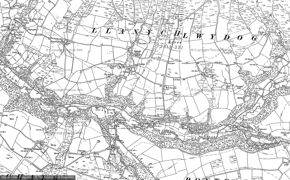 Old Map of Historic Map covering Afon Gwaum in 1887