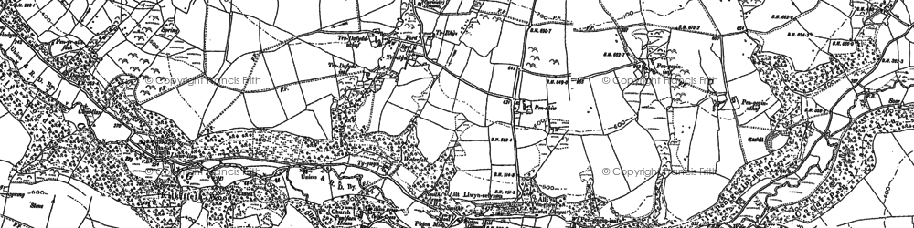 Old map of Afon Cwmau in 1887