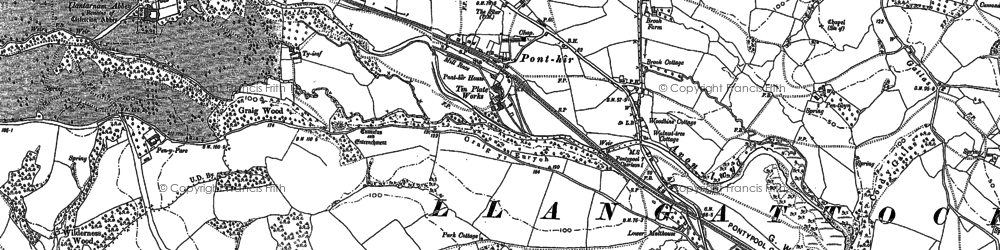 Old map of Ponthir in 1899