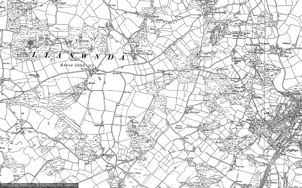 Old Map of Historic Map covering Y Globa Fawr in 1906
