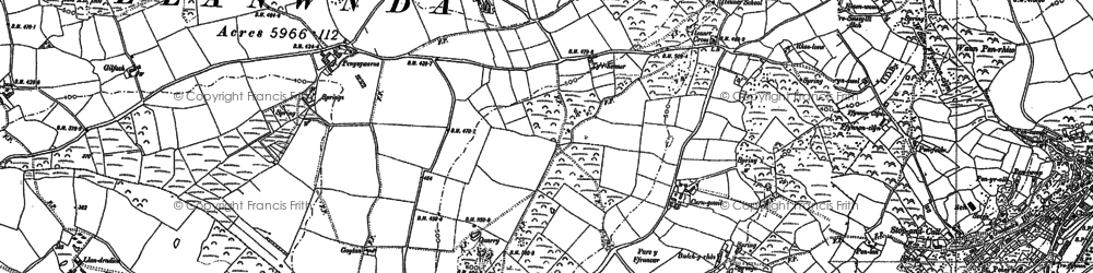 Old map of Y Globa Fawr in 1906
