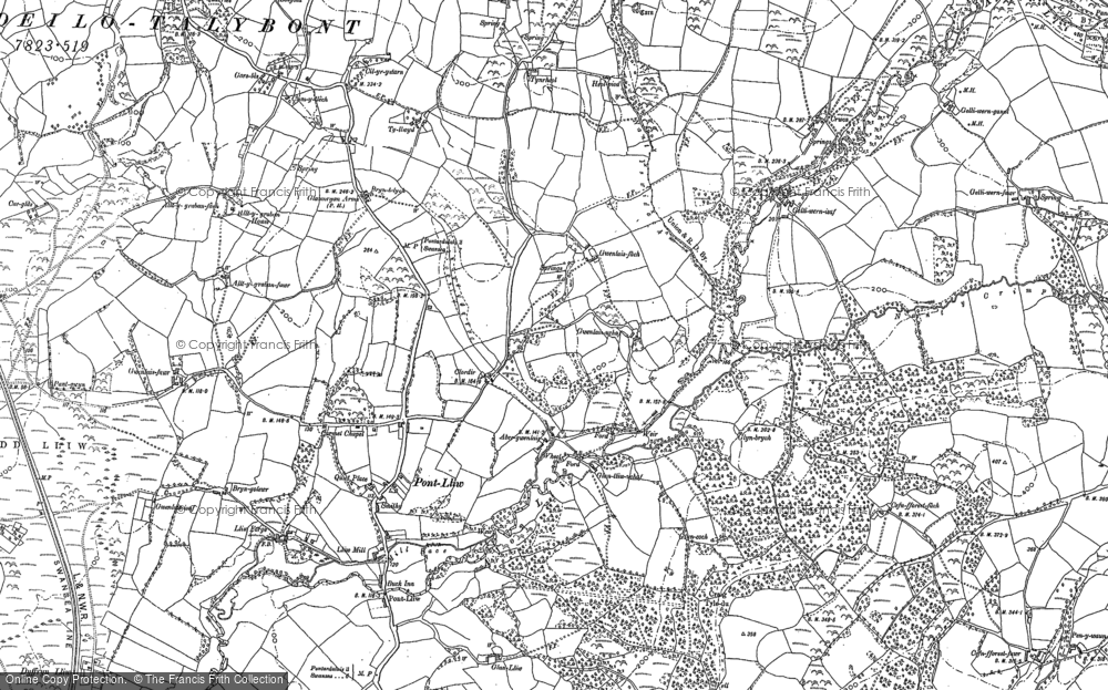 Old Map of Historic Map covering Tircoed in 1905