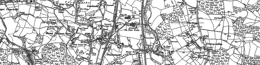 Old map of West Pontnewydd in 1899